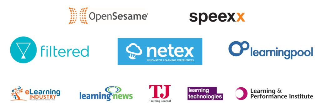 Logos of the 10 sponsors and media partners of the 2020 L&D Global Sentiment Survey